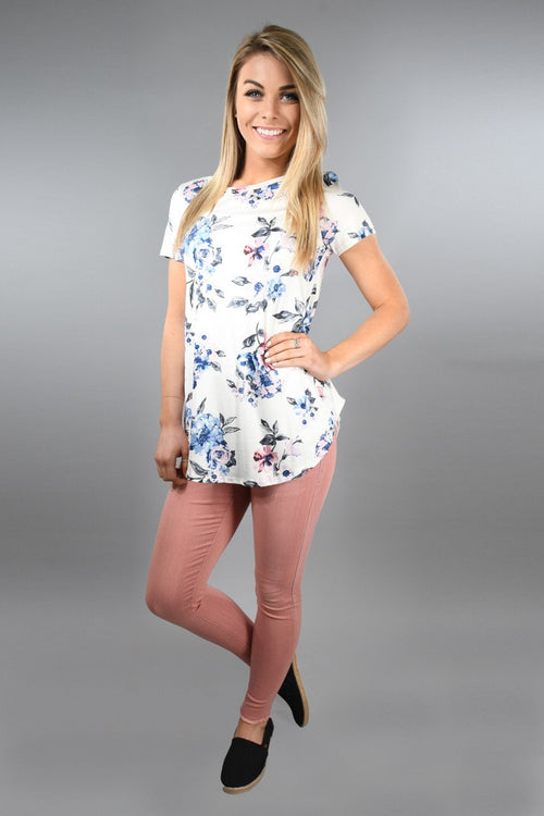 Blue and Pink Floral Top