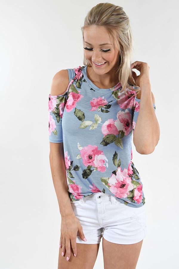 Blue Floral Cold Shoulder Top