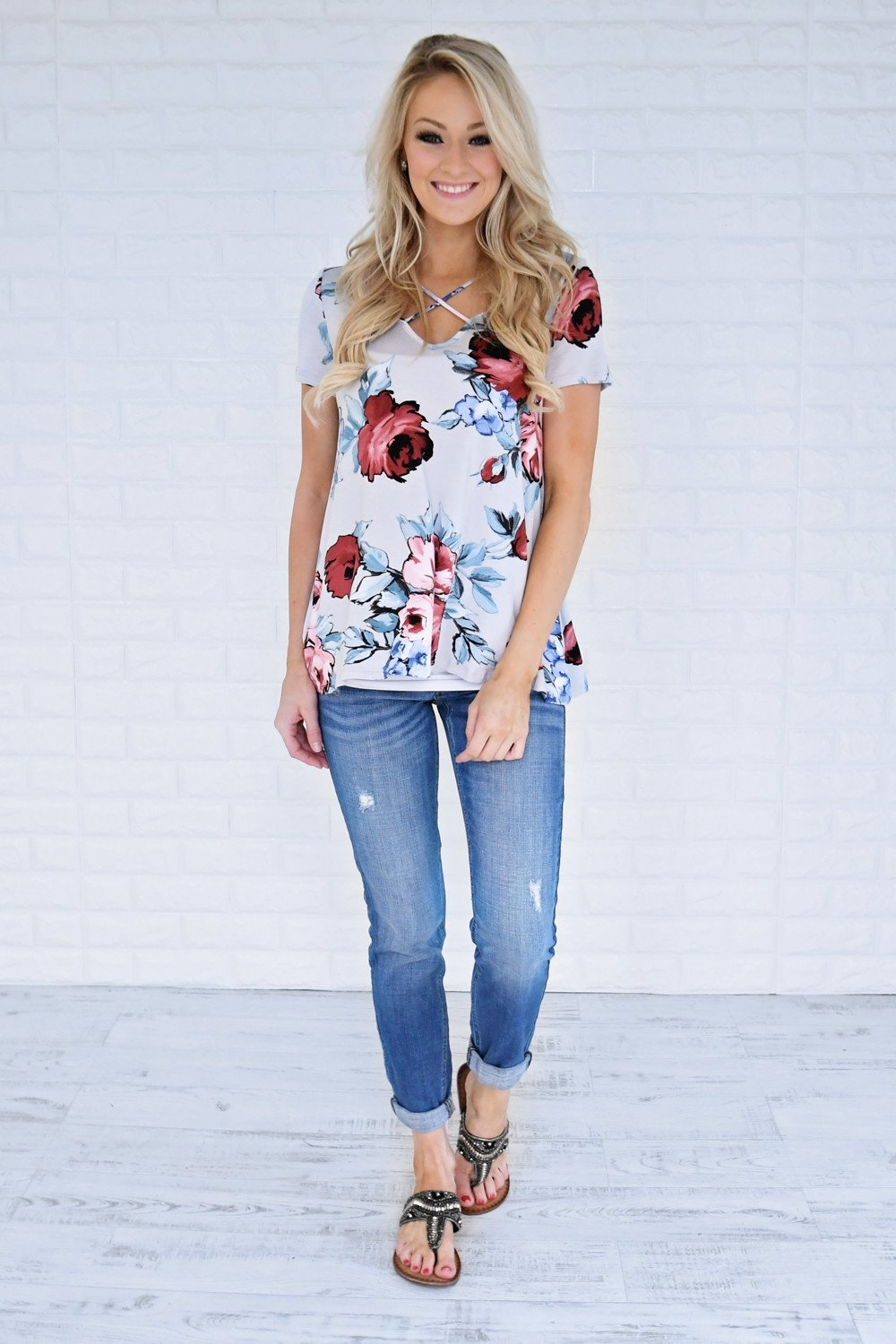 Flattering in Floral Criss Cross Top