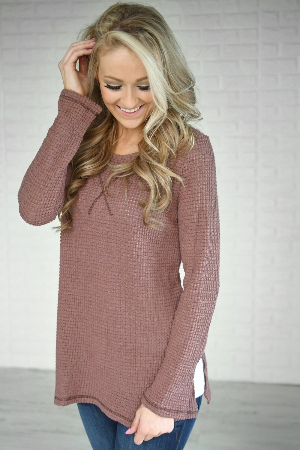 Deep Mauve Knit Thermal Top