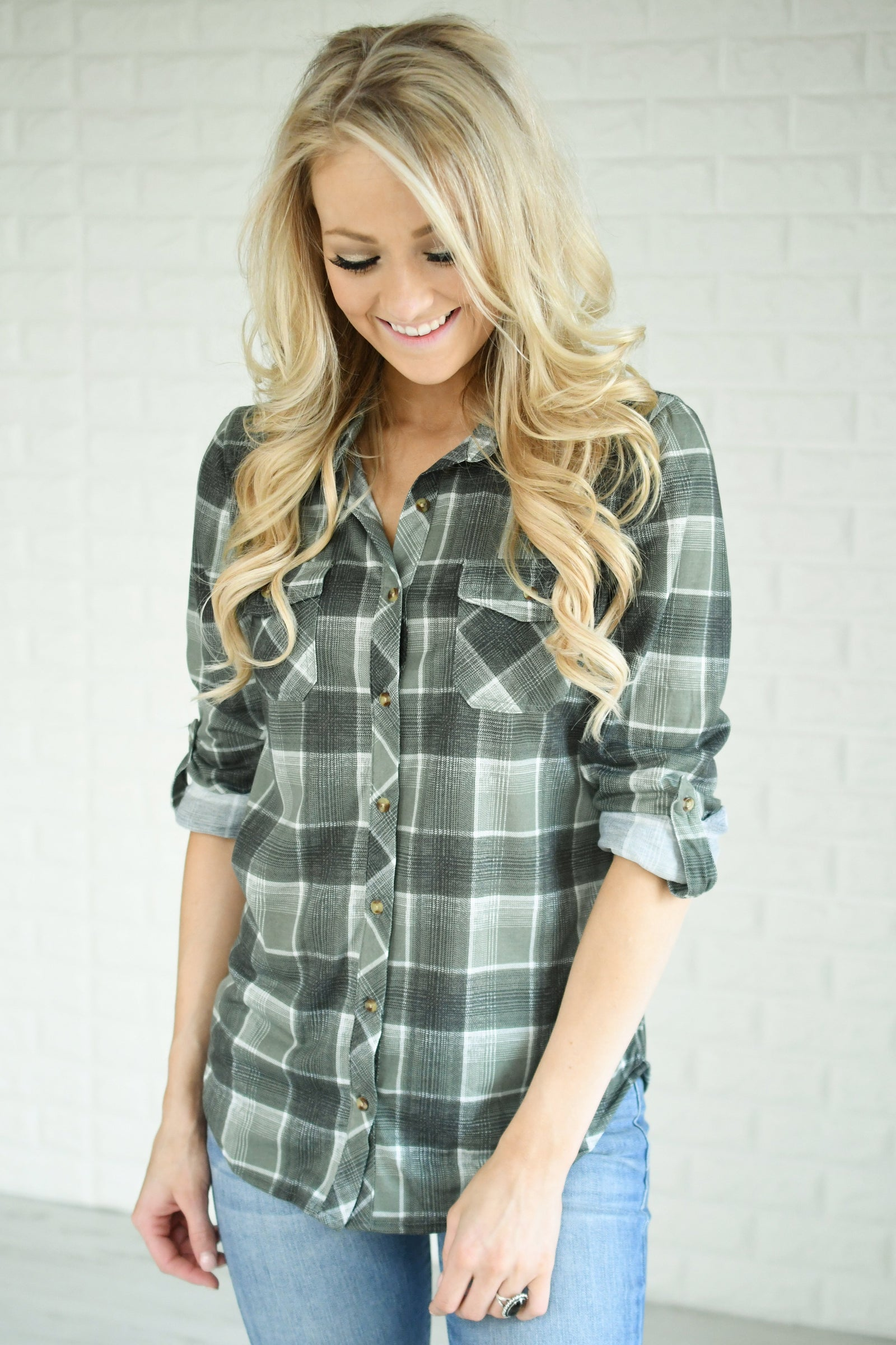 The Essential Plaid Top ~ Checkered Olive