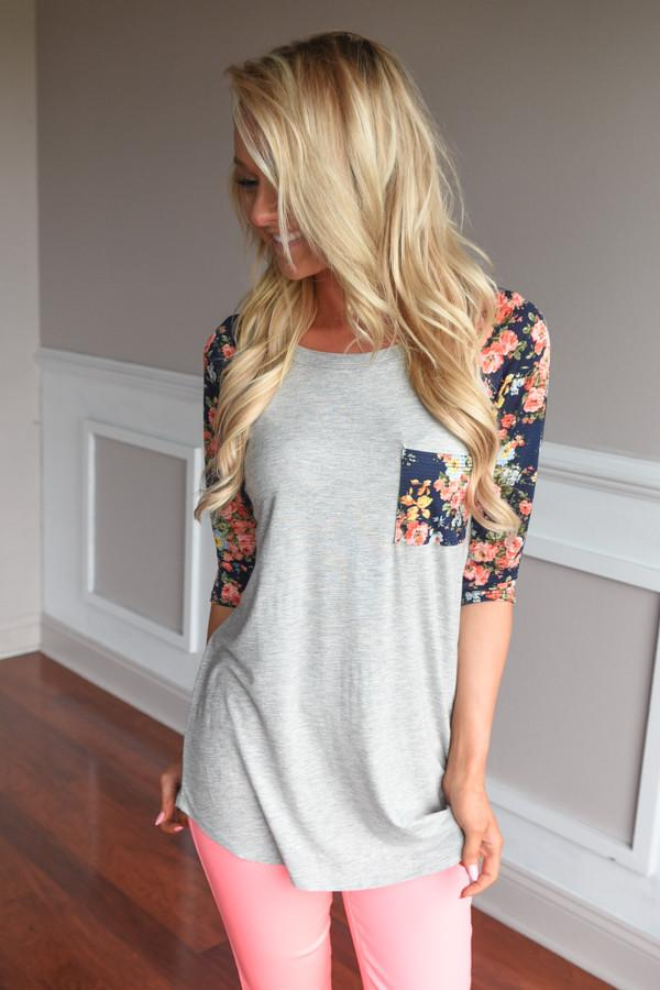 Grey Baseball Tee Navy Floral Sleeves Top