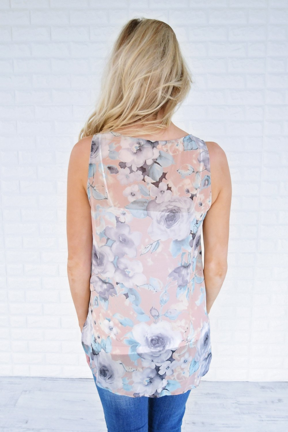 Floral Kisses Crossover Tank Top ~ Deep Blush