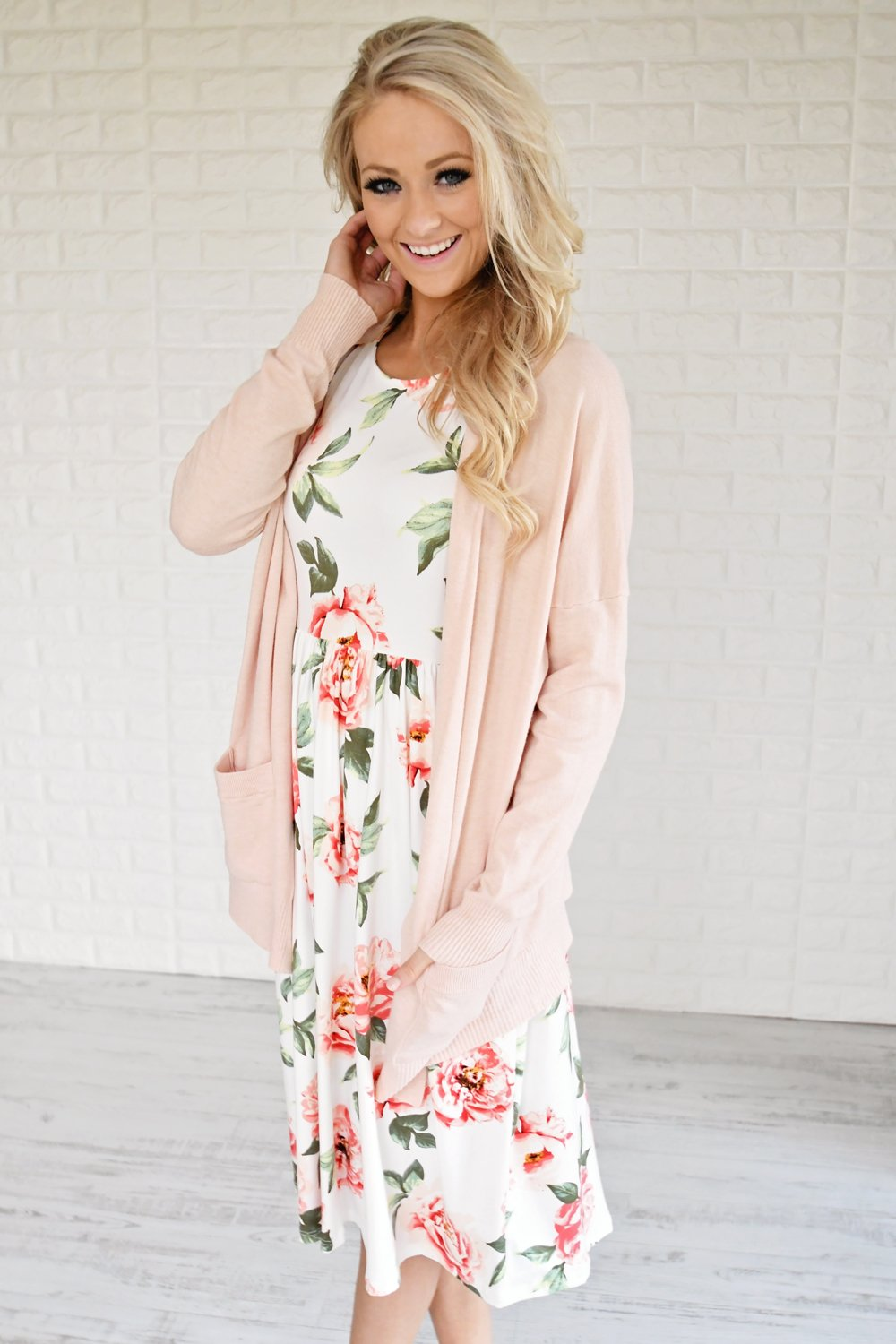 Floral My Heart Midi Dress ~ Ivory