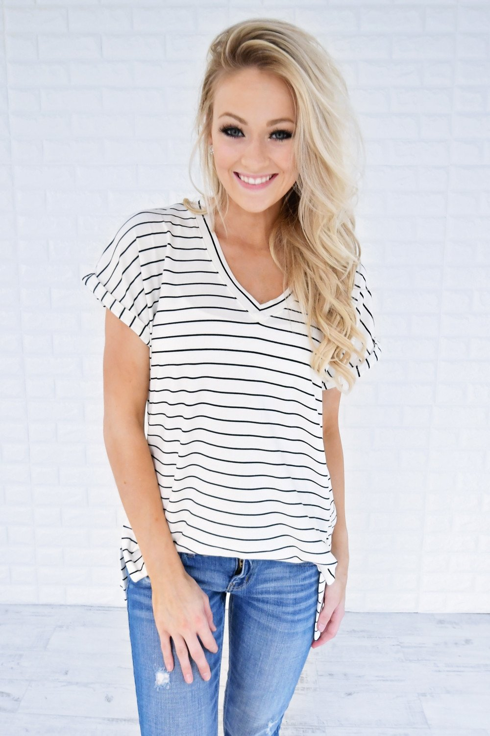 Blurred Lines Striped Top ~ White