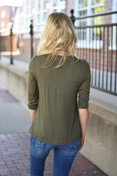 Baby I'm Yours Button Top - Olive