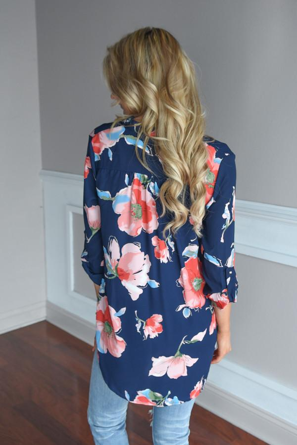 Always Faithful Navy Floral Blouse