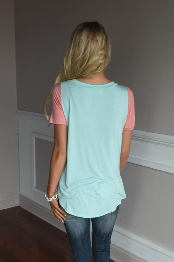 Peach & Mint Statement Top