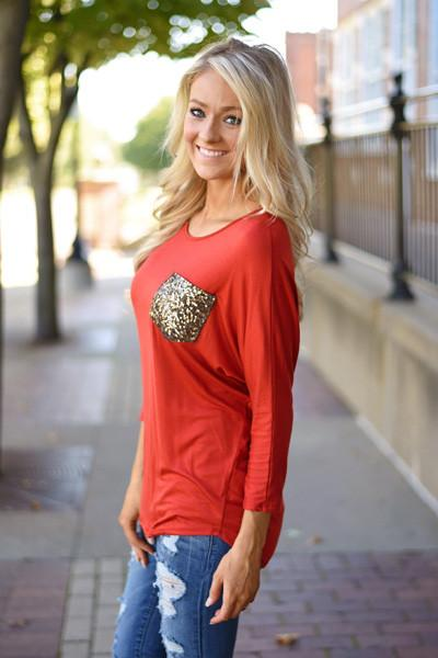 Glam Pocket Top - Rust