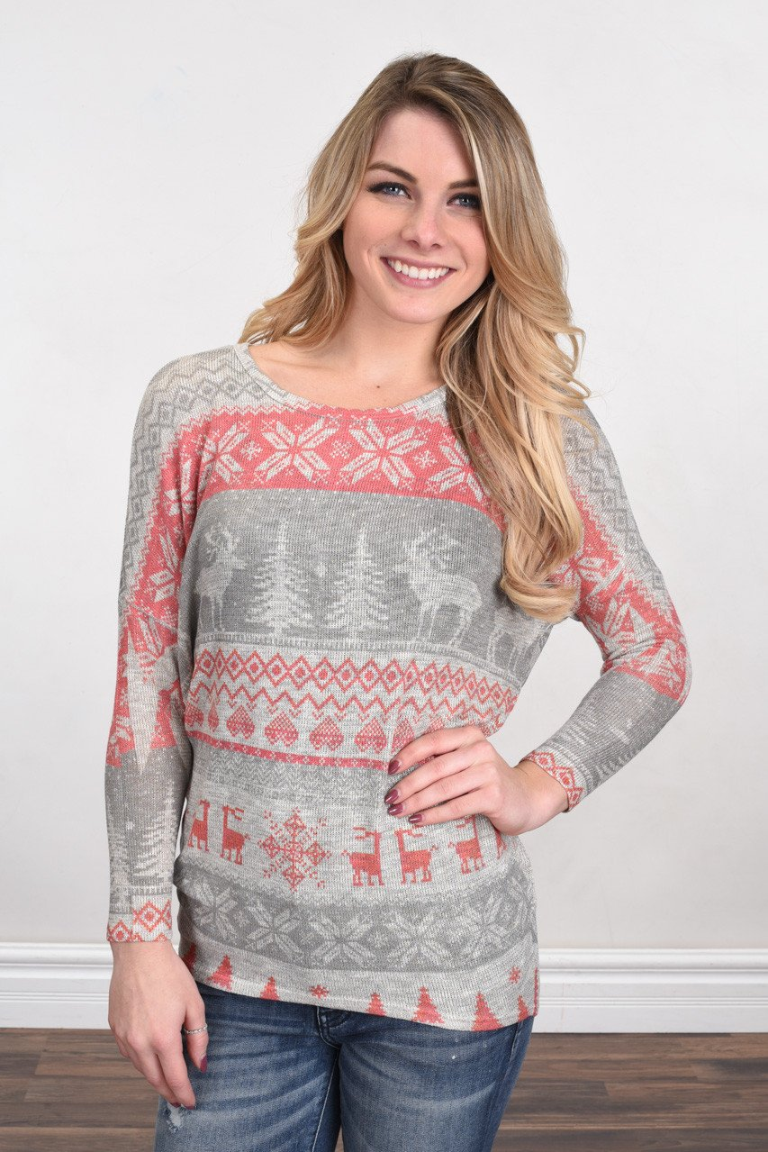 Home For The Holidays Sweater Top - Grey