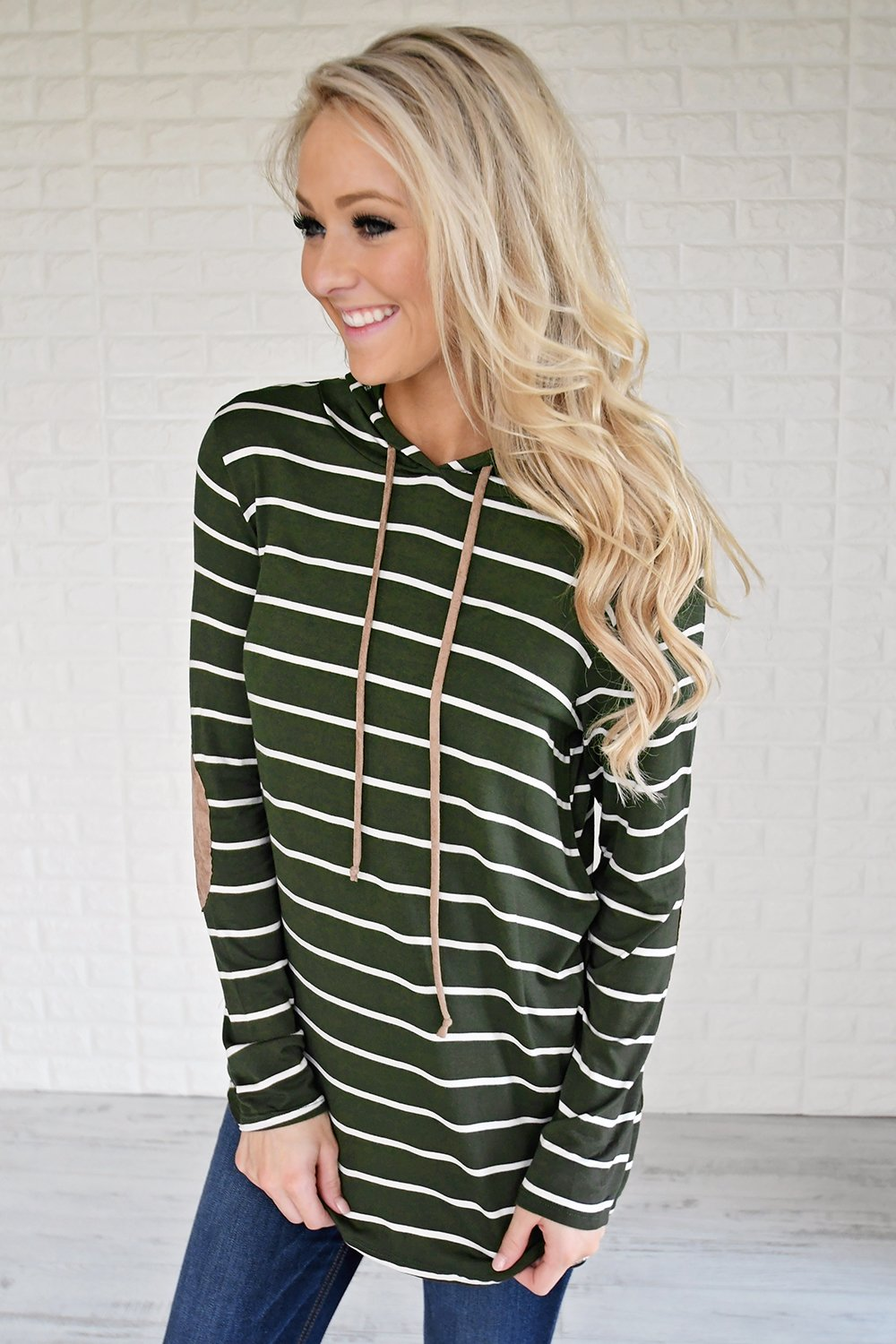 Olive Striped Hoodie w/ Elbow Patches