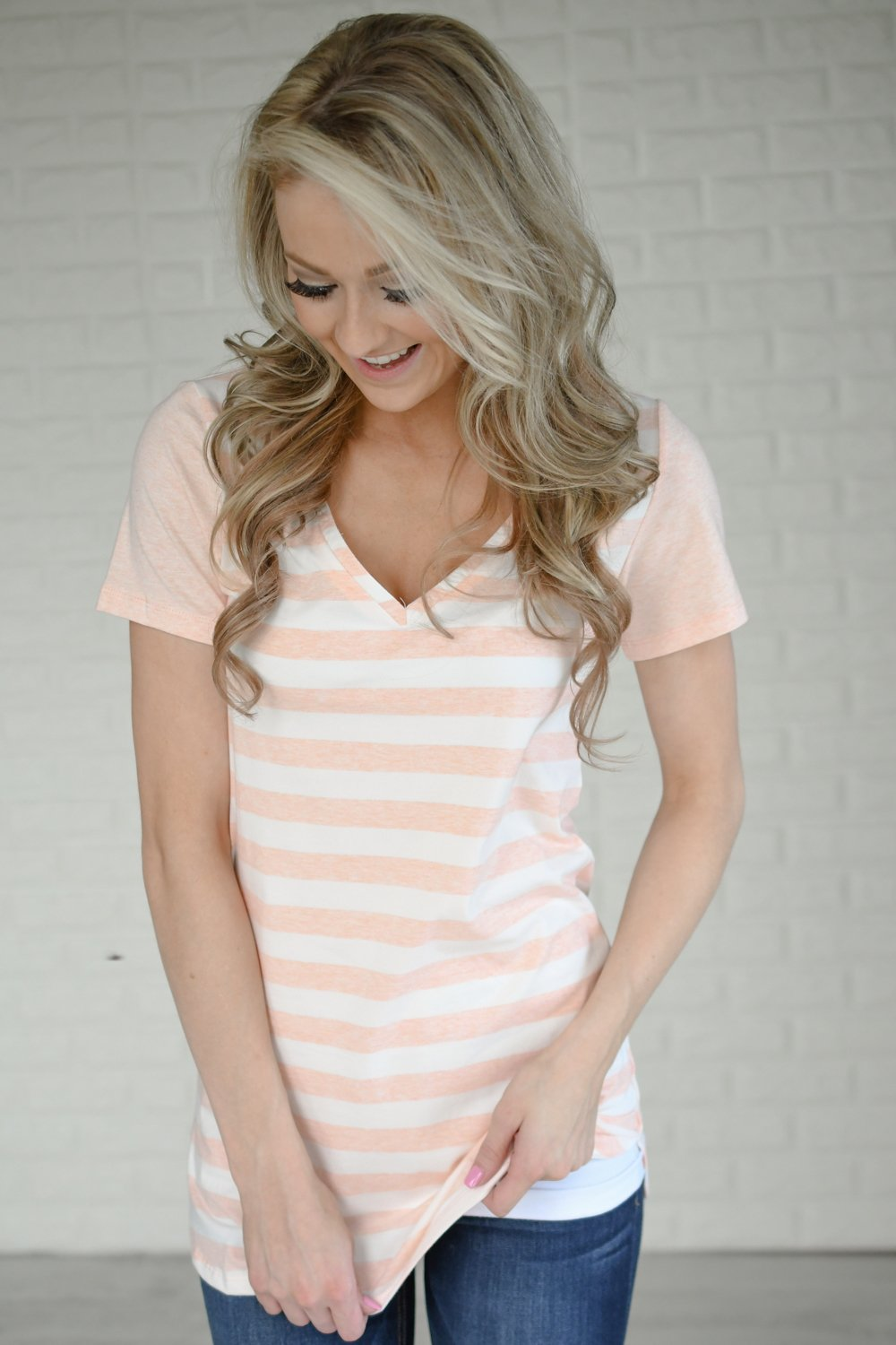 Ampersand Striped V-Neck Tee