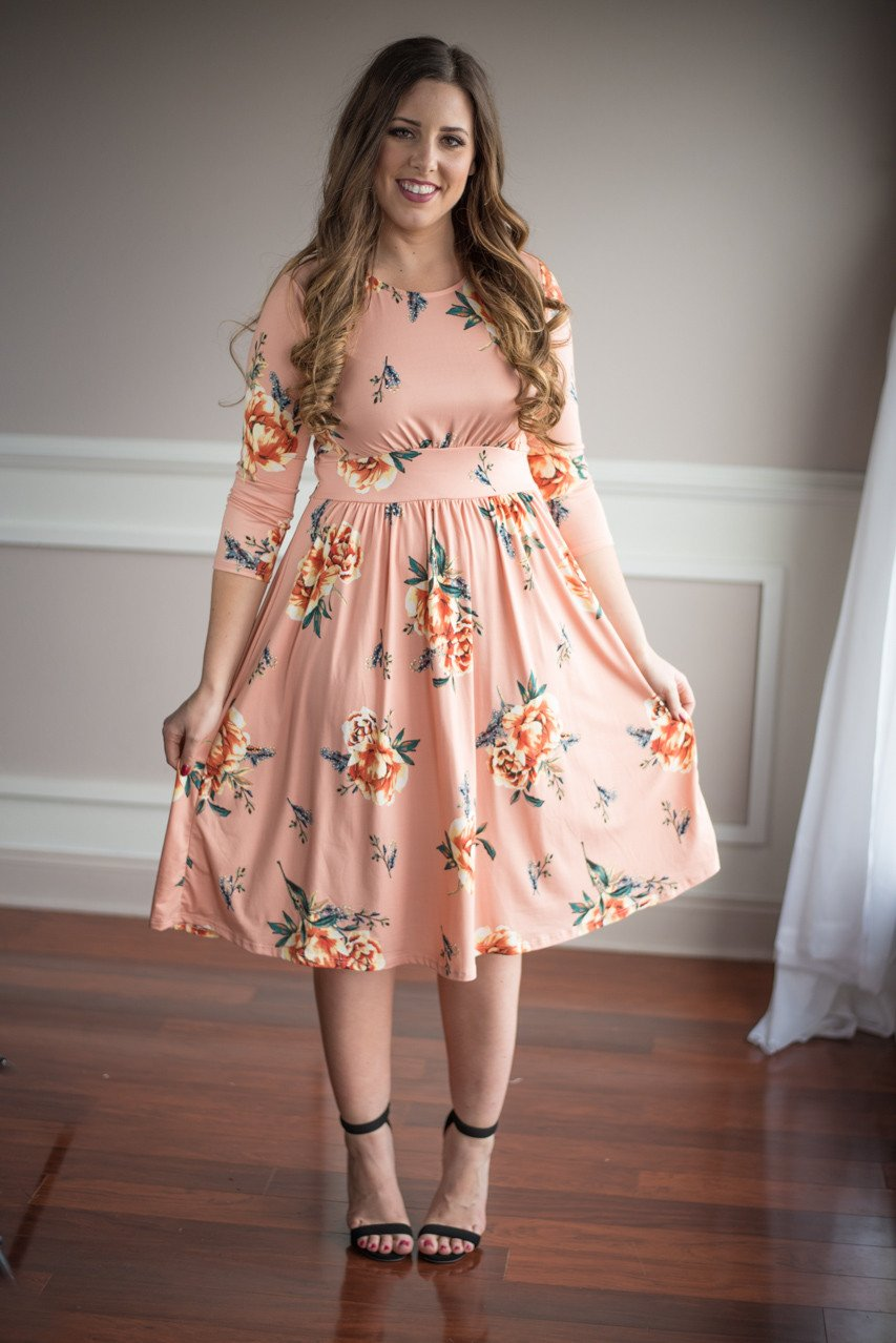 Everything's Peachy Floral Dress