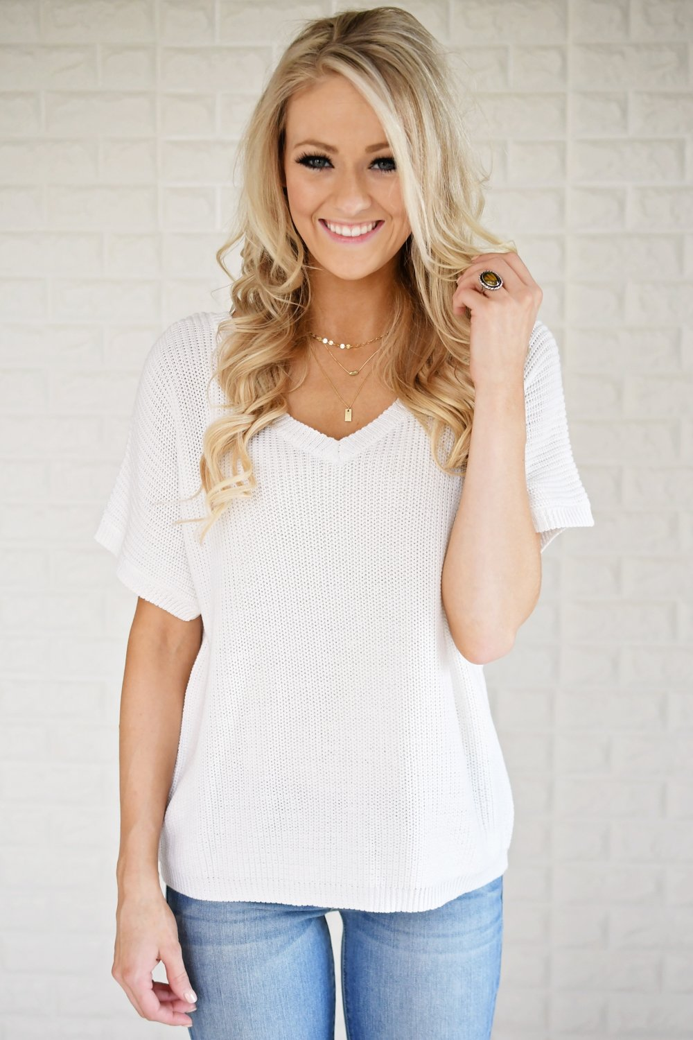 Ivory Back Lace Knit Top