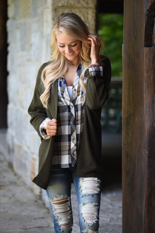 Traditional Olive & Navy Plaid Top
