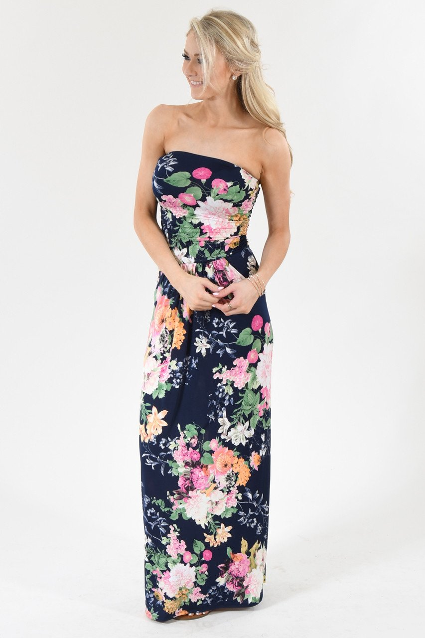 Summer Lovin' Strapless Maxi Dress ~ Navy