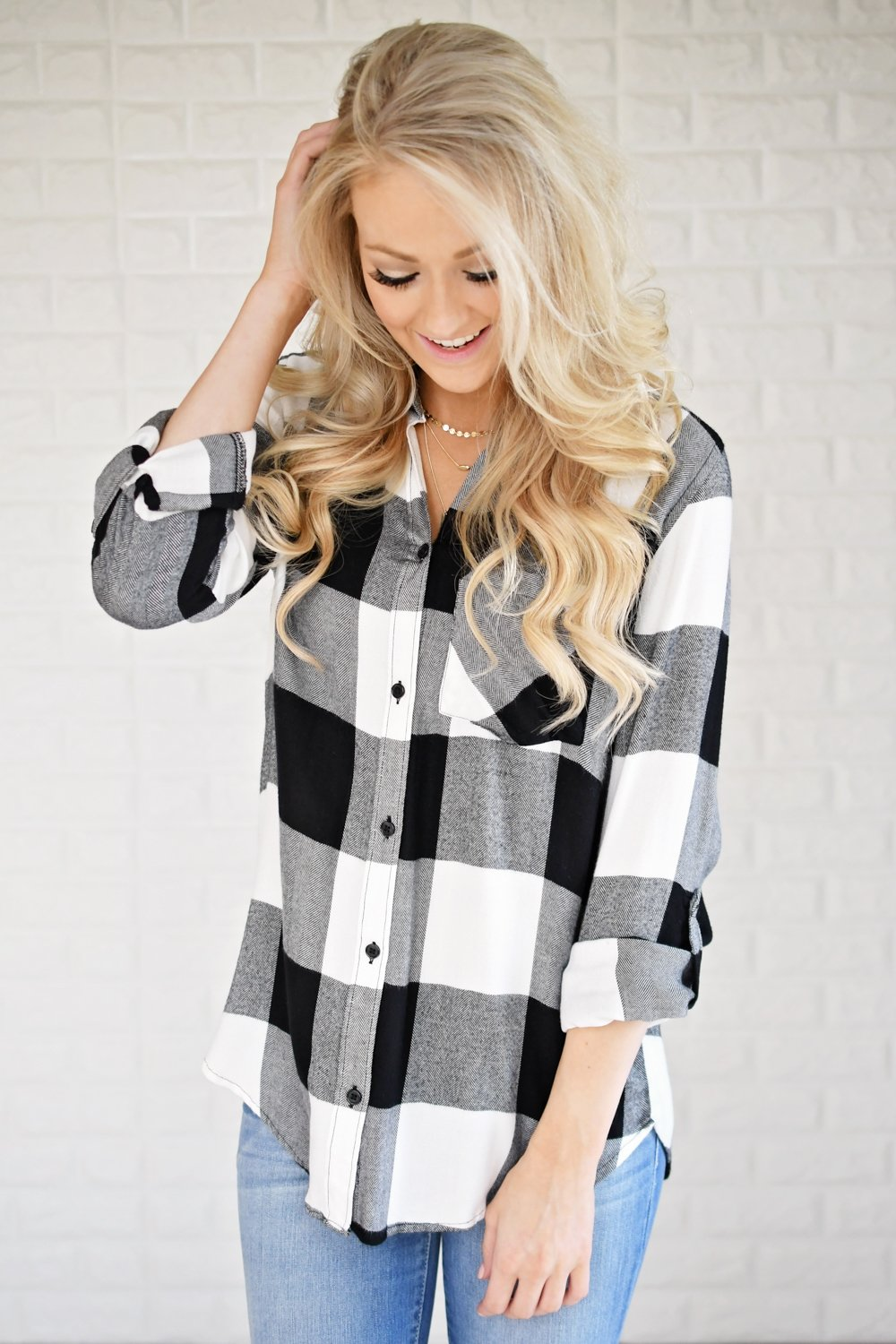 White & Black Plaid Button Up Top