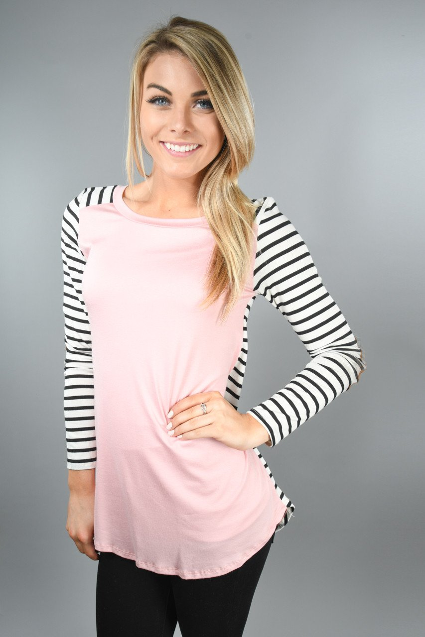 Pink and Black Elbow Patch Top