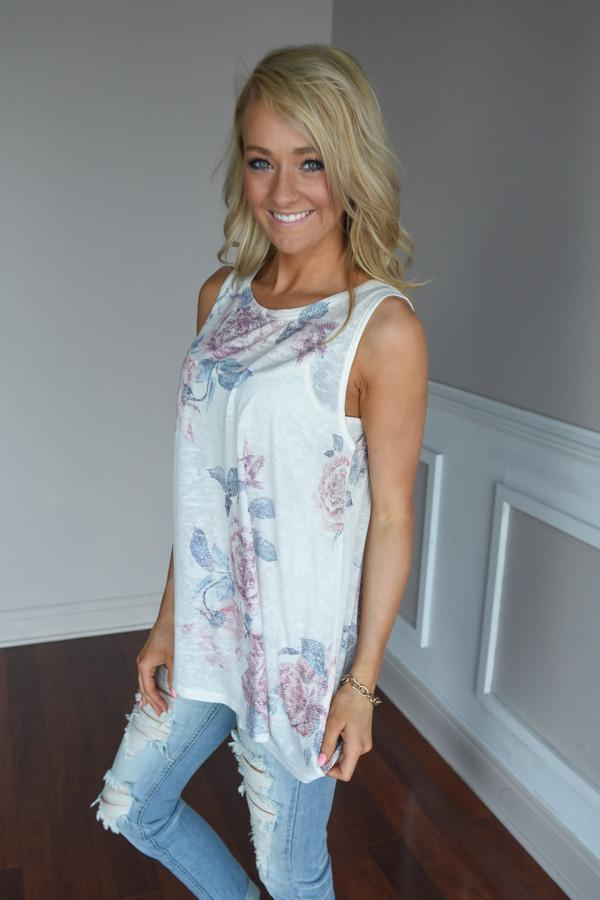 Sheer Ivory Floral Tank Top