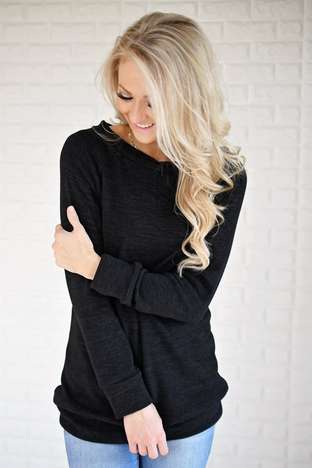 Forever Cozy Tunic Top ~ Black