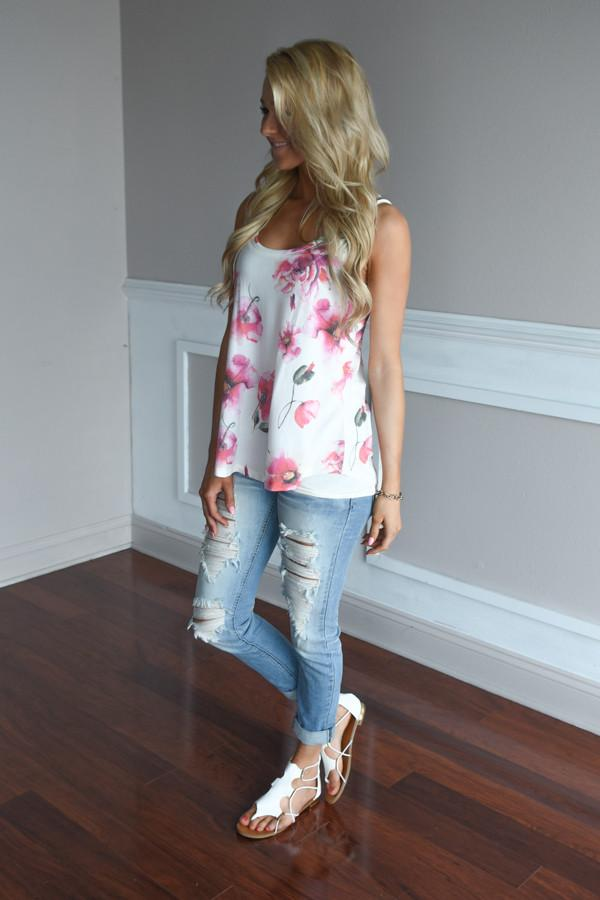 Old Time Romance Tank ~ Pink Floral