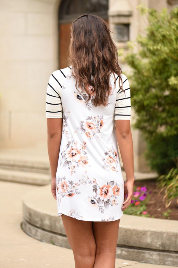 Striped & Floral Dress - Ivory