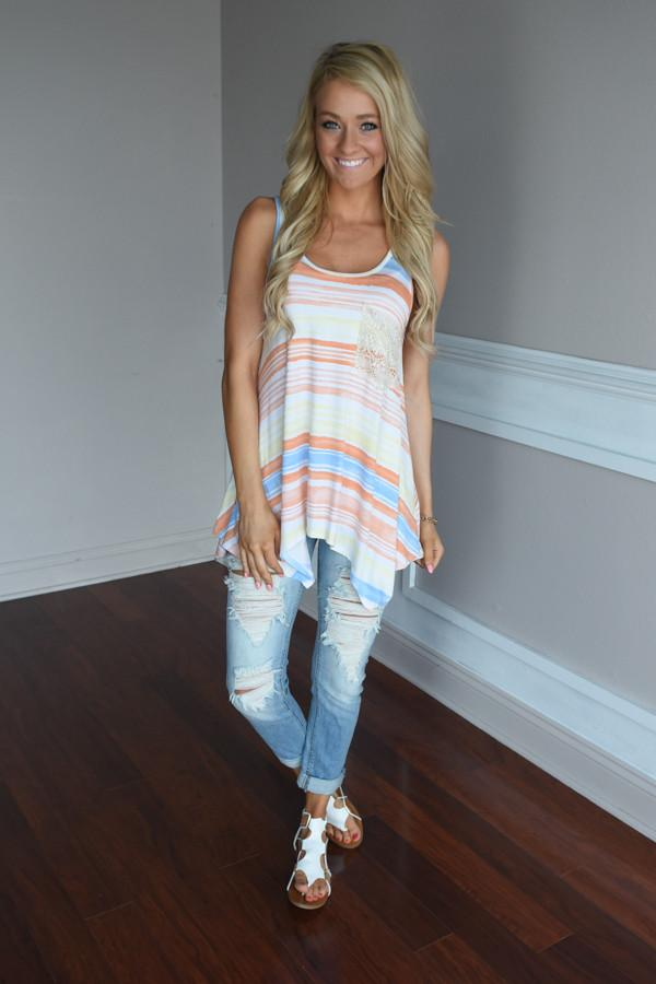 Orange & Yellow Striped Pocket Top