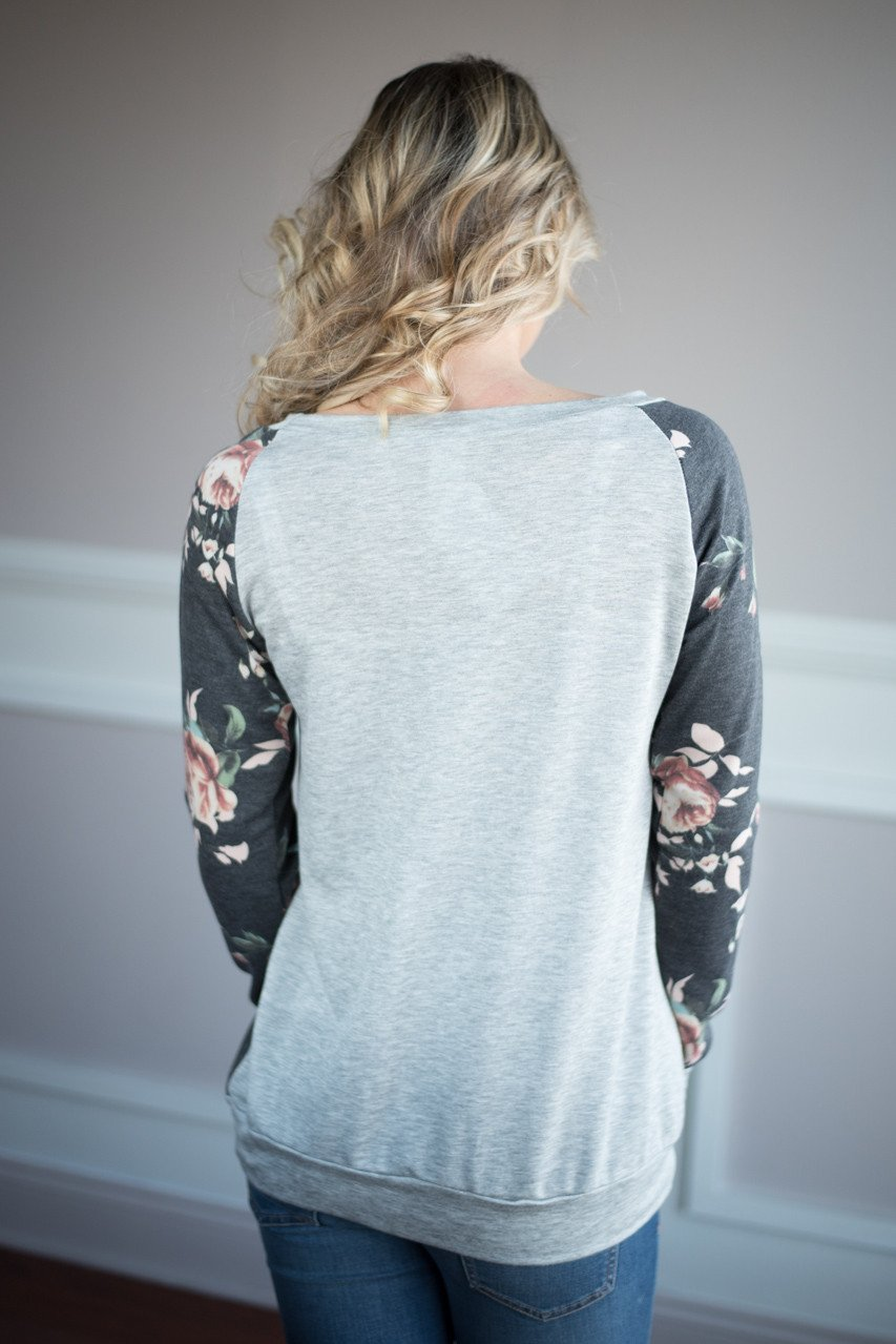 On My Level Floral Top ~ Charcoal