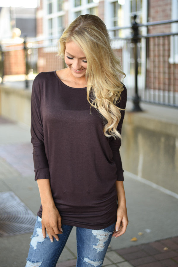 Essential Dolman Top - Brown