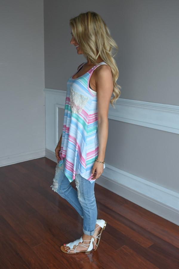 Pink & Blue Striped Pocket Top