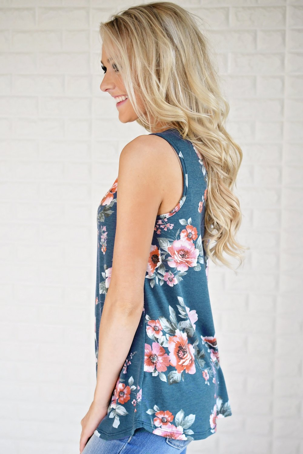 Floral Criss Cross Tank Top ~ Navy