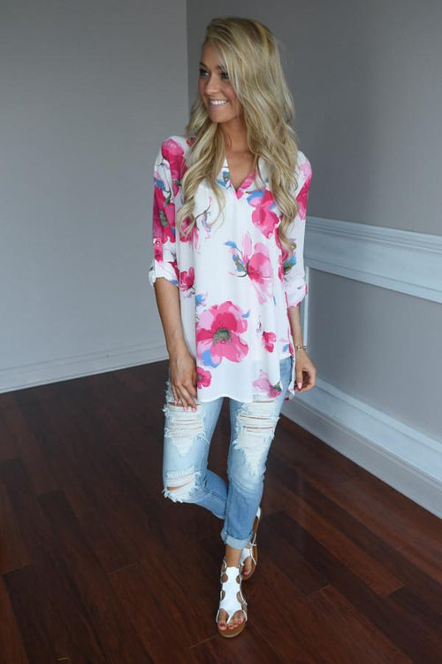 Always Faithful Floral Blouse ~ Ivory