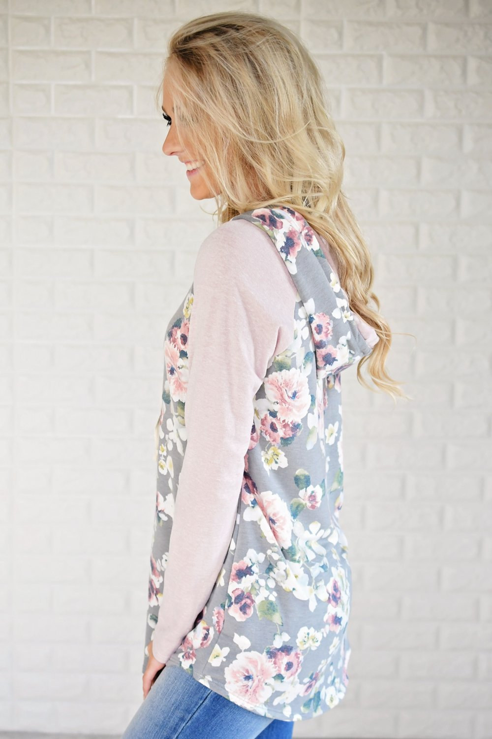 You're So Floral Hoodie ~ Blush & Grey