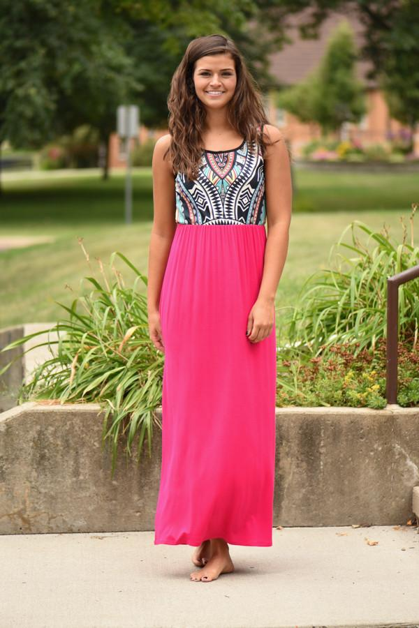 Hot Pink Aztec Maxi Dress