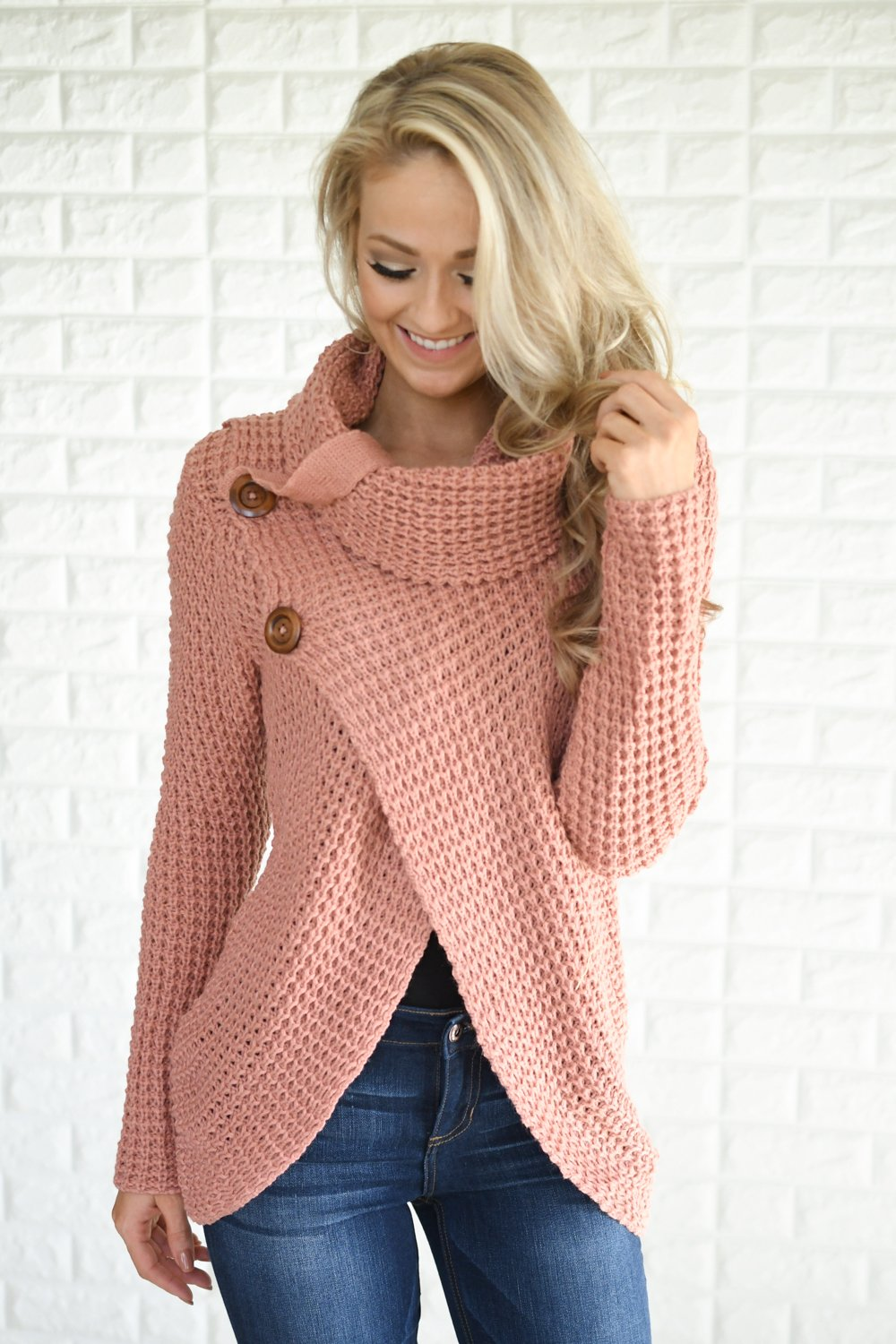 Give Me a Reason Mauve Button Sweater