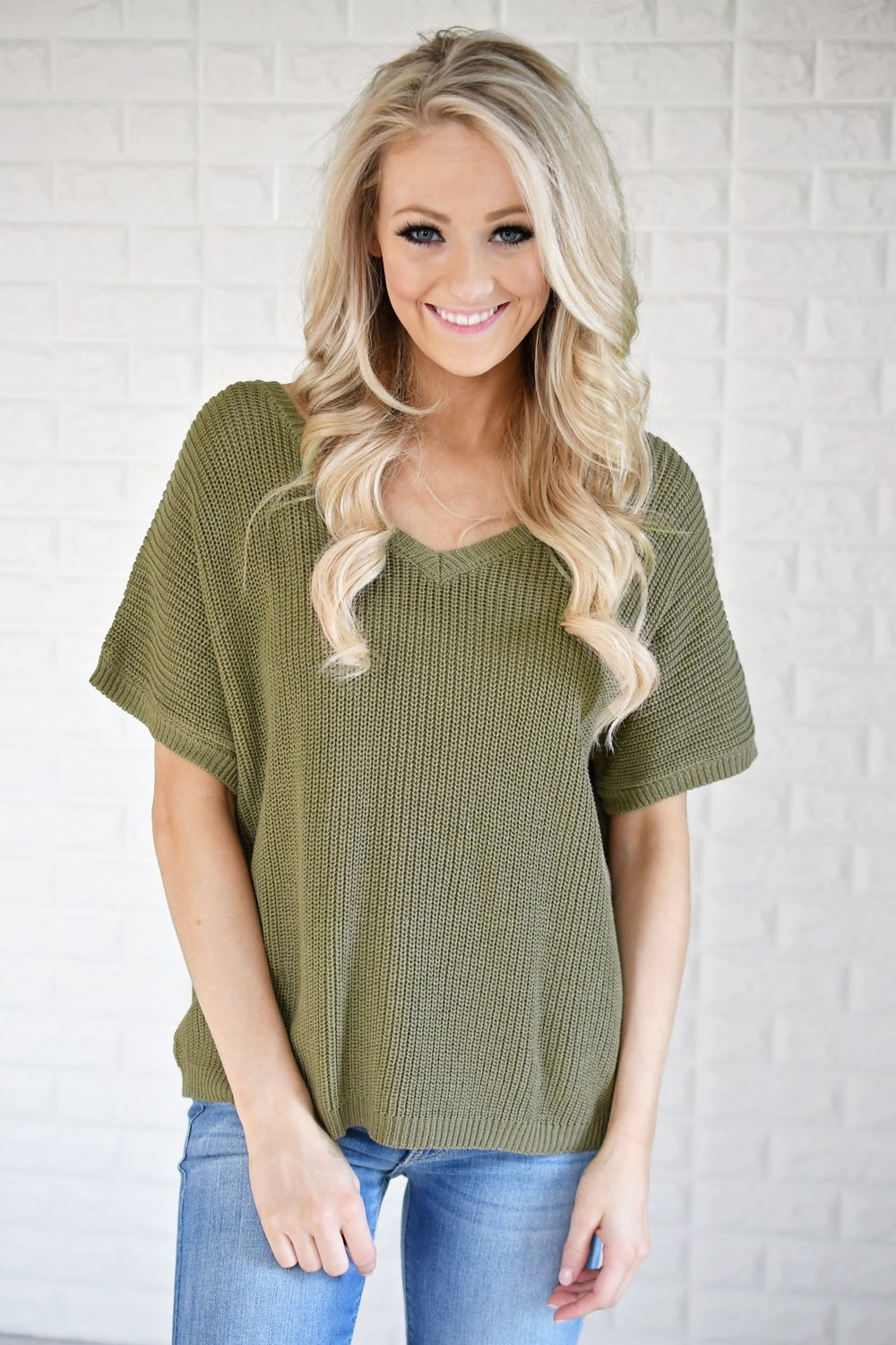 Olive Back Lace Knit Top