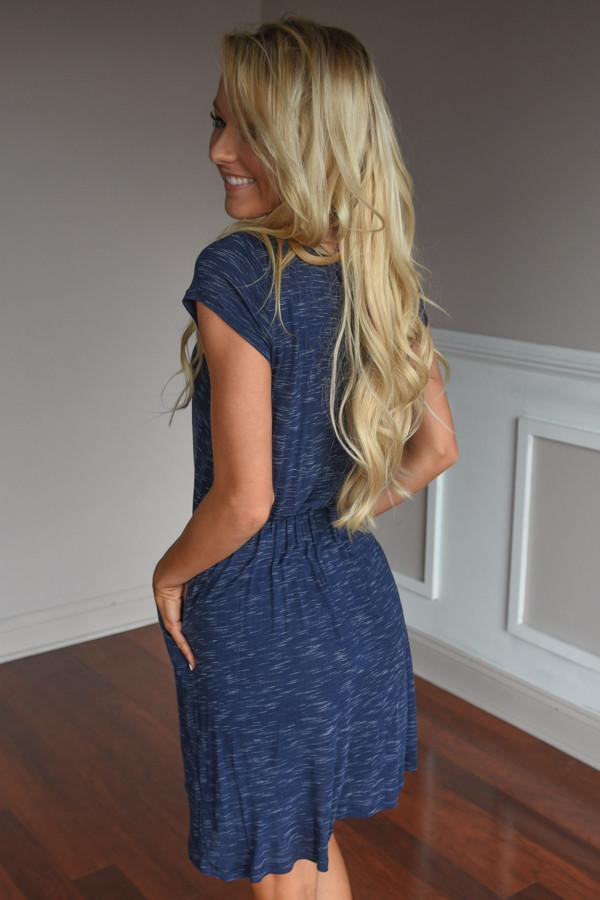 Don't Leave Me Waiting Dress ~ Navy