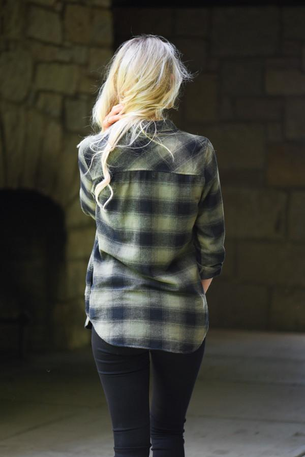 Traditional Olive & Black Plaid Top