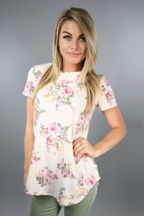 Light Peach And Pink Floral Top