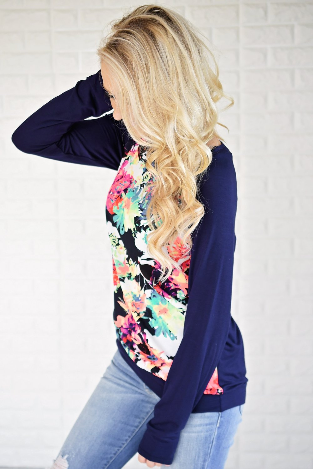 Never Shy Navy Floral Long Sleeve Top