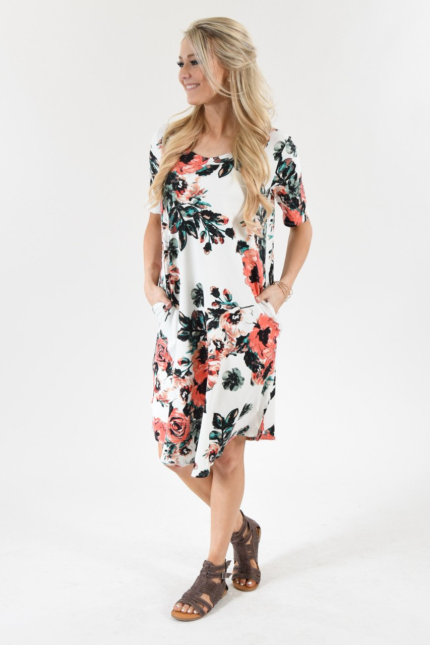 Don't Be Shifty Floral Dress ~ Ivory