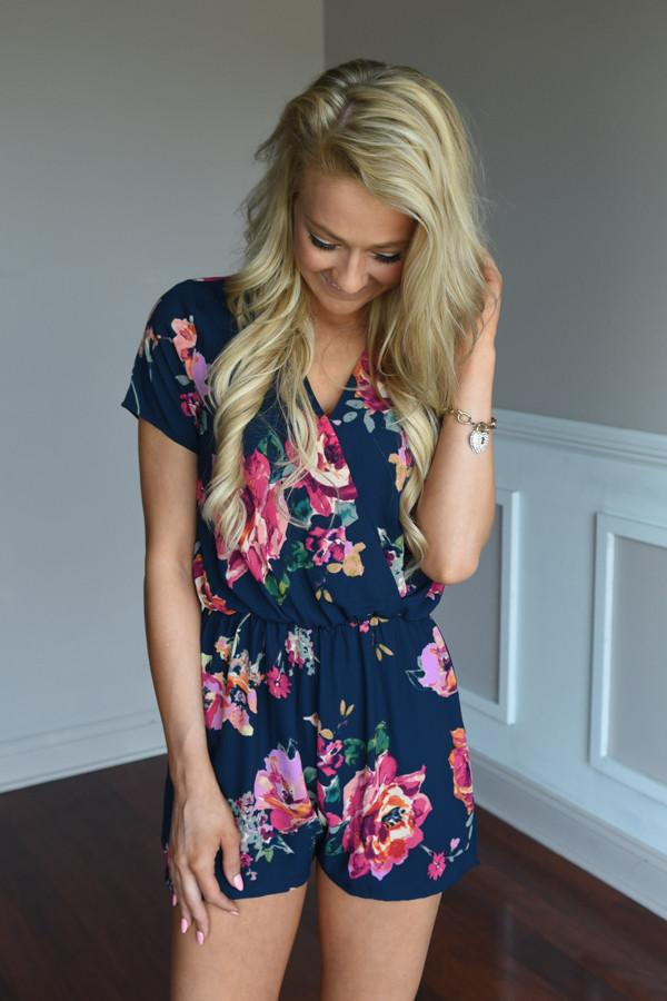 Everly Navy Floral Romper