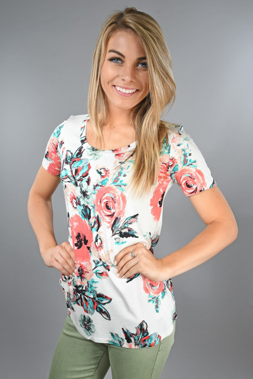 Speechless Floral Top ~ Teal