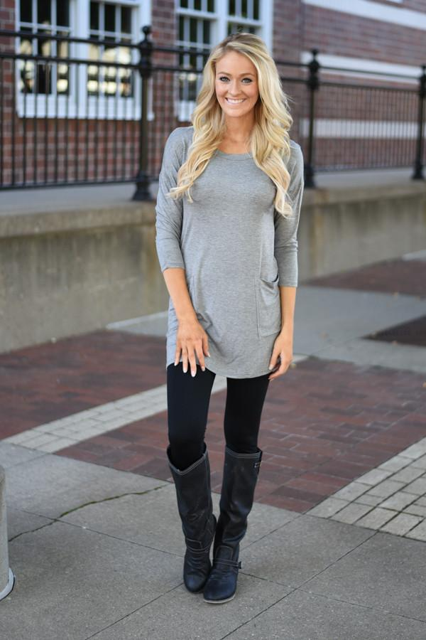 Grey Button Down Pocket Top