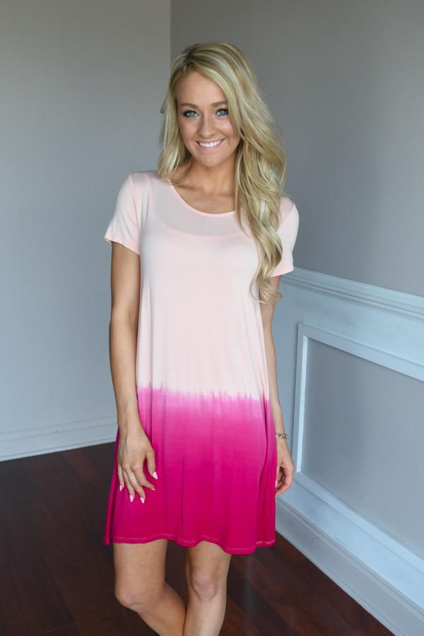 Reverse Ombre Dress ~ Hot Pink