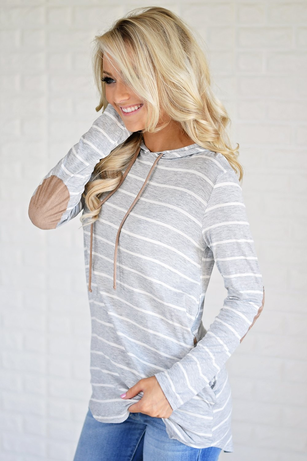 Grey Striped Hoodie w/ Elbow Patches