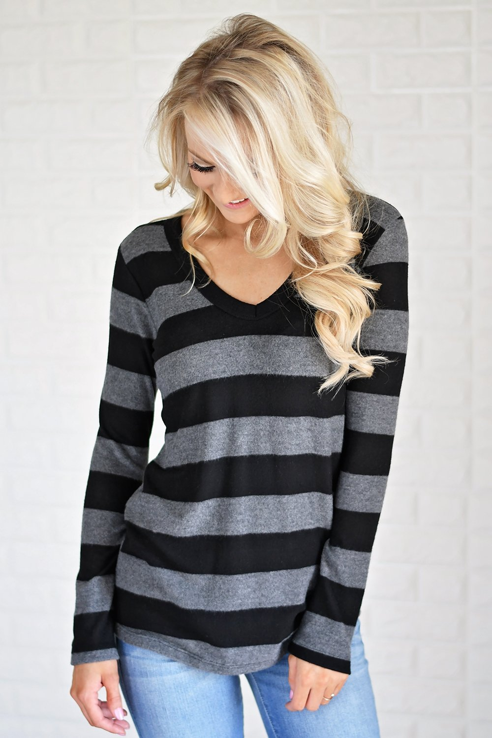 Take Chances Striped Top ~ Black & Grey