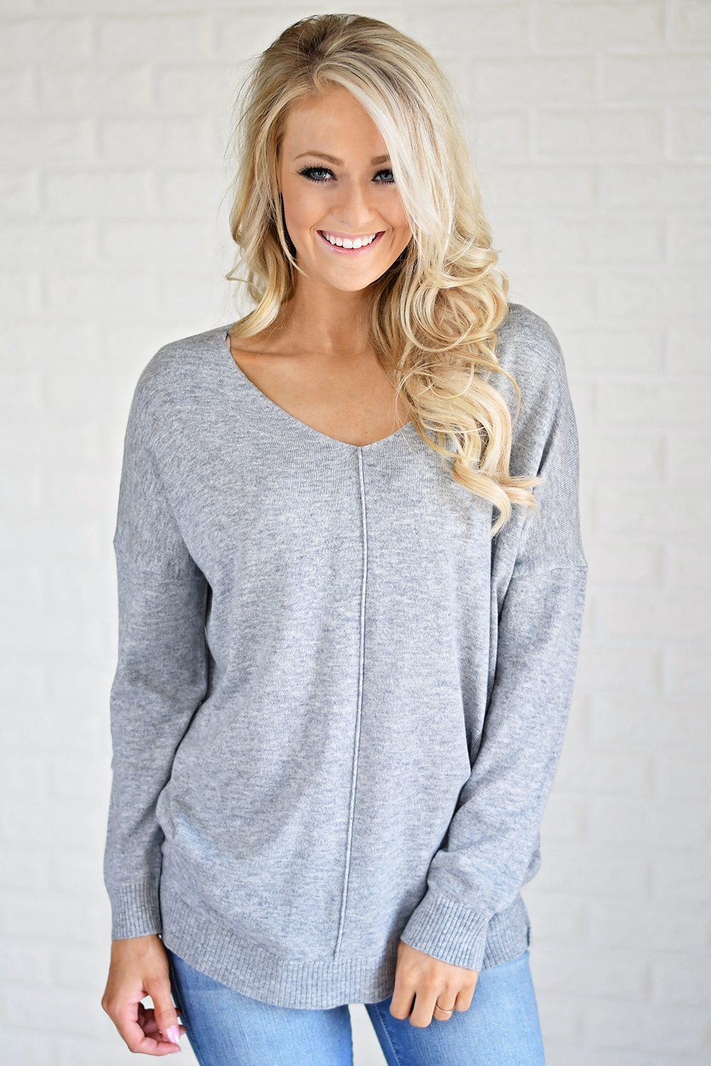 You Make My Dreams Sweater Top ~ Grey