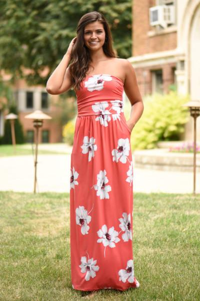 Coral Strapless Floral Maxi Dress with Pockets