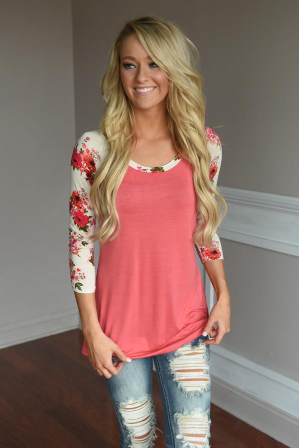 Ivory Sleeve Floral Top